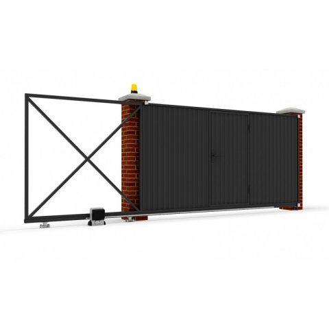 Откатные ворота металлические 4 х 2 м. «СТАНДАРТ», штакетник с отдельной калиткой