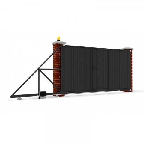 Откатные ворота металлические 5 х 2 м. «СТАНДАРТ», профлист со встроенной калиткой