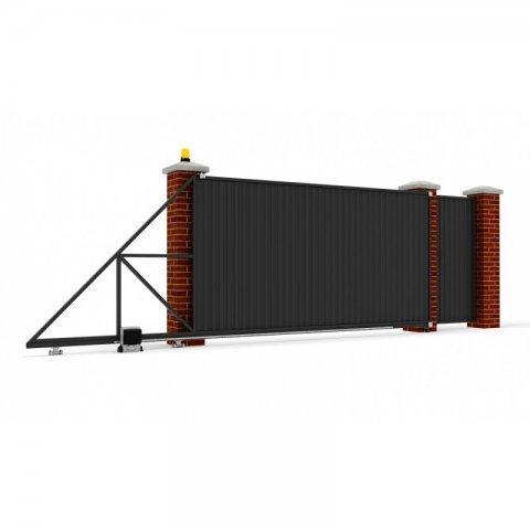 Откатные ворота металлические 5 х 2 м. «СТАНДАРТ», профлист с отдельной калиткой