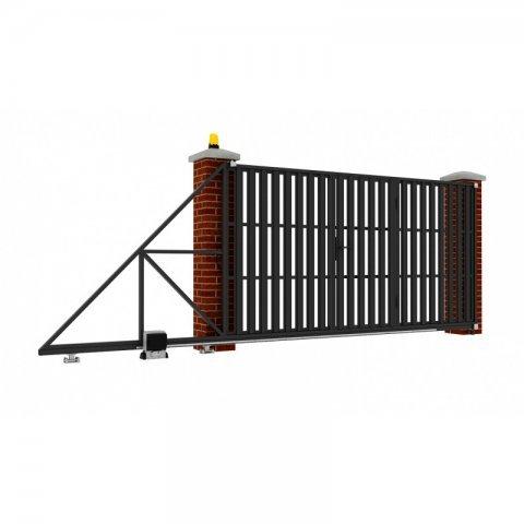 Откатные ворота металлические 5 х 2 м. «СТАНДАРТ», штакетник со встроенной калиткой