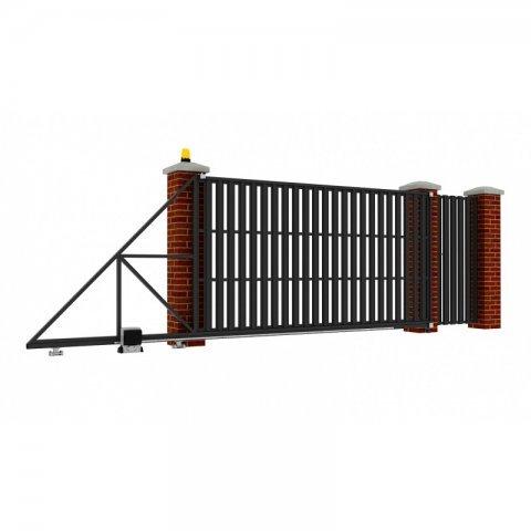 Откатные ворота металлические 5 х 2 м. «СТАНДАРТ», штакетник с отдельной калиткой