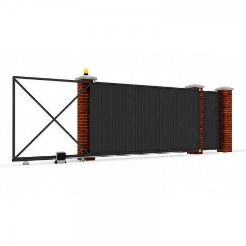 Откатные ворота металлические 5 х 2 м. «ПРЕМИУМ», профлист с отдельной калиткой