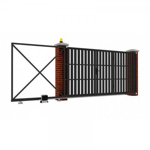 Откатные ворота металлические 5 х 2 м. «ПРЕМИУМ», штакетник со встроенной калиткой