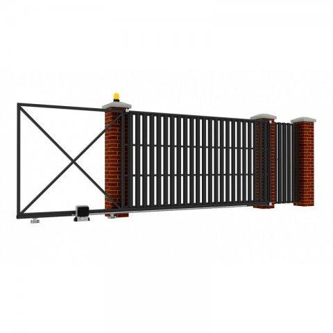 Откатные ворота металлические 5 х 2 м. «ПРЕМИУМ», штакетник с отдельной калиткой