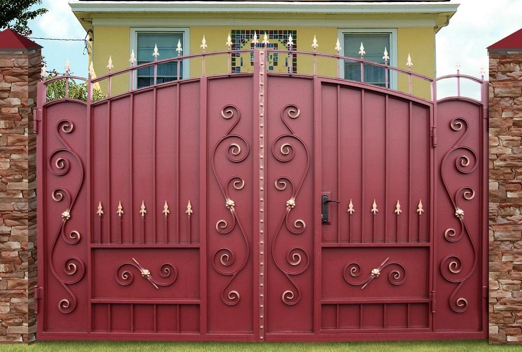 Ворота «Боярские узорные» со встроенной калиткой