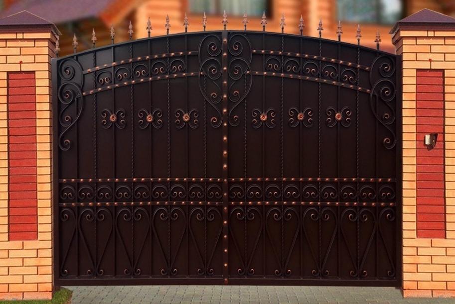 Ворота «Узорные» зашитые листом