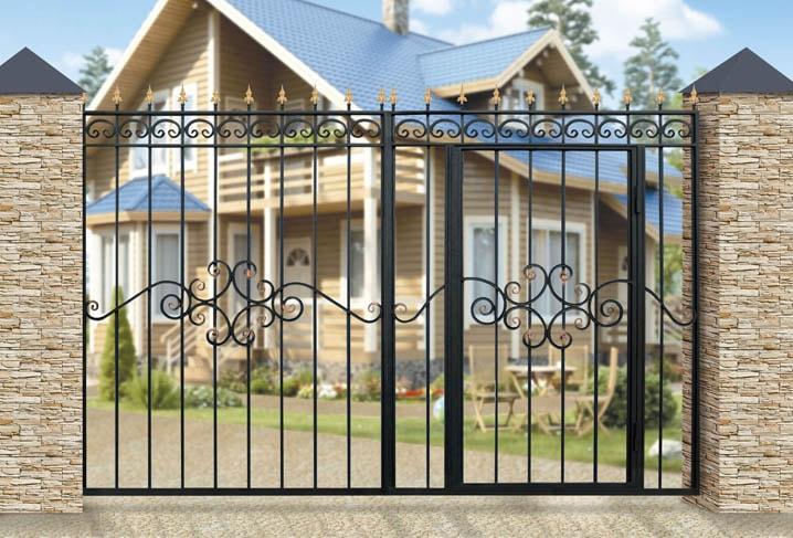 Ворота «Дачные» со встроенной калиткой