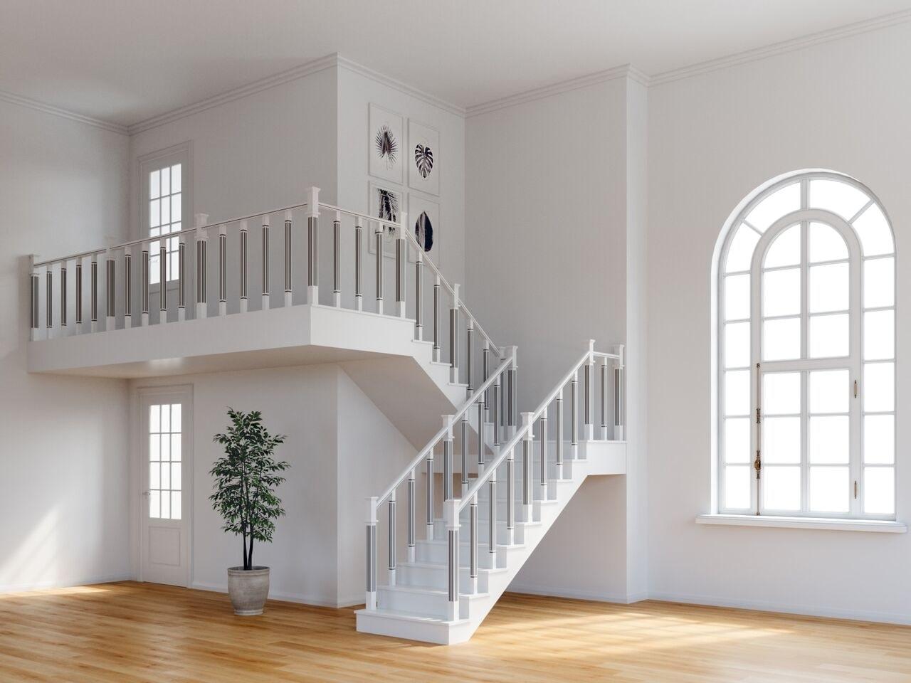 Забежная лестница в буке и буковыми ограждениями