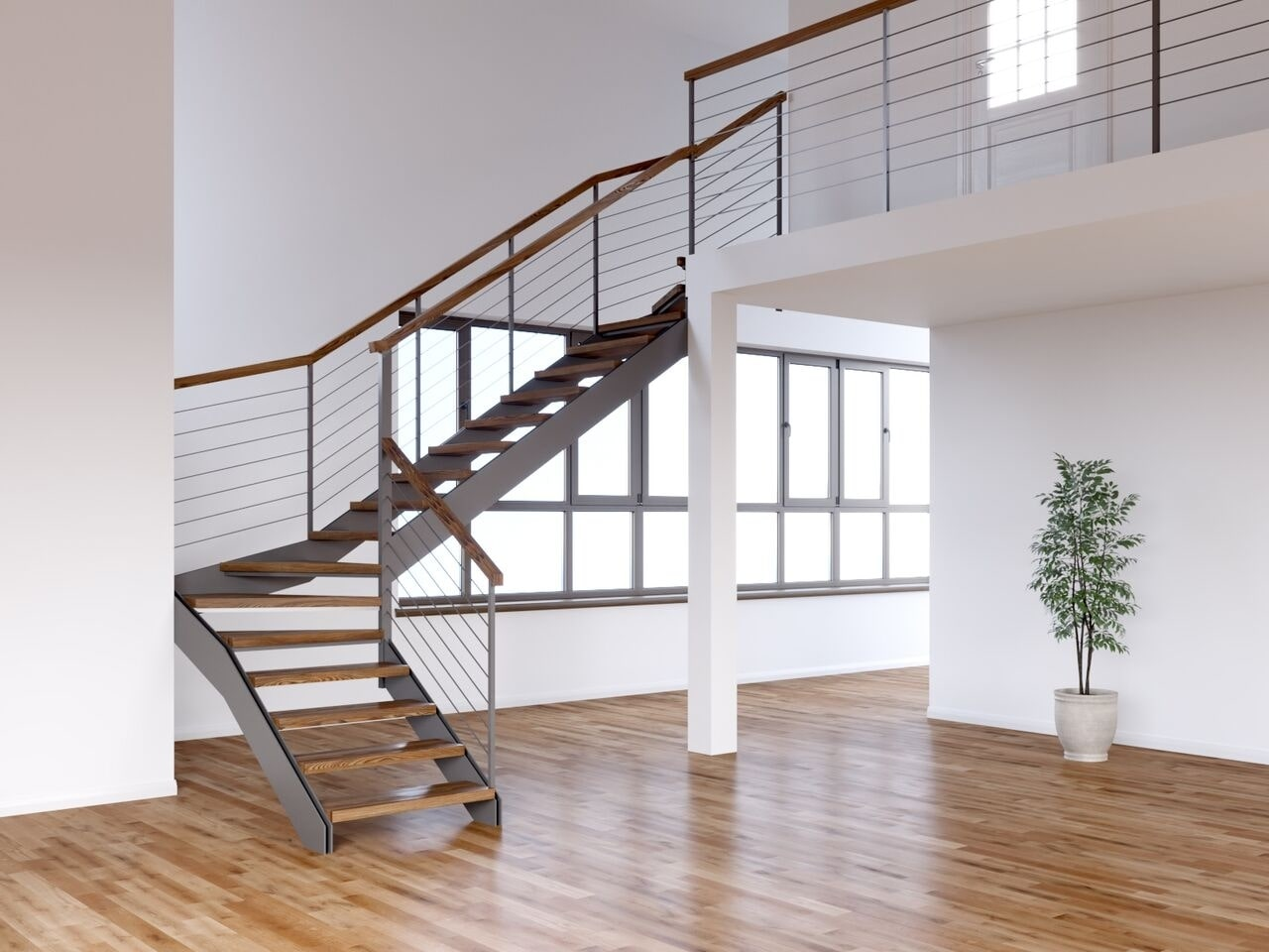 Лестница на тетивах со ступенями из бука и ограждениями из троса