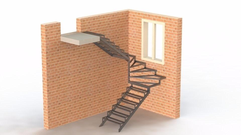 Закрытого типа с забежными ступенями