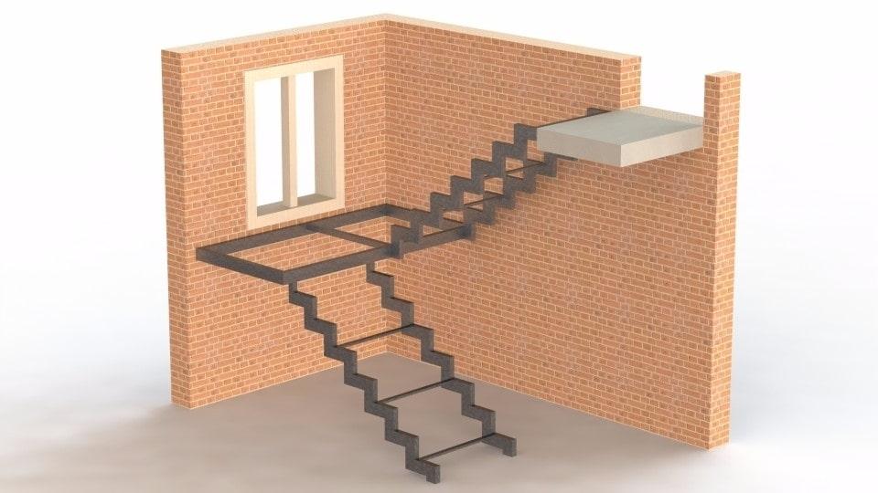 Каркас лестницы открытого типа с площадкой