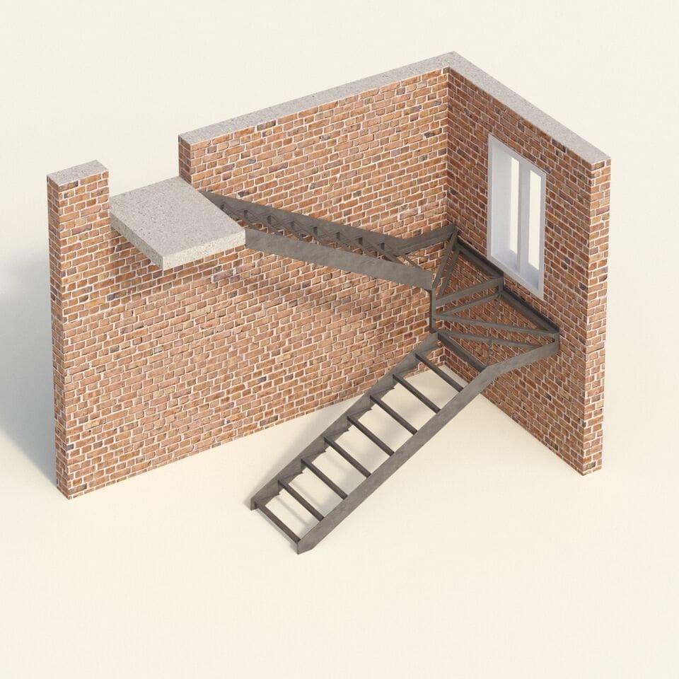Открытый каркас лестницы на тетивах