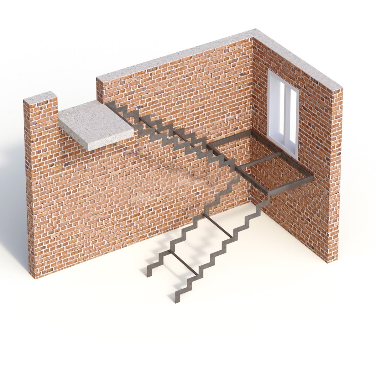 Открытый каркас лестницы из листа металла